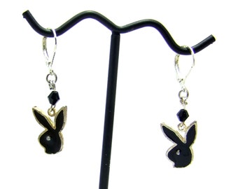 Dangle Earrings, Vintage Charms, Bunny Earrings, Black Earrings, Silver Earrings