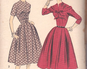 1950s Day Dress Pattern Advance 8073 Size 12 Uncut