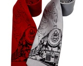 Train silkscreen neckties. Microfiber screen printed steam engine black ink tie.