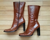 90s high heel boots , mid calf boots . charles david boots . vintage brown boots . size 8 1/2
