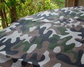 Camouflage--Linen Flax 100%--Camo Printed Fabric--DIY projects