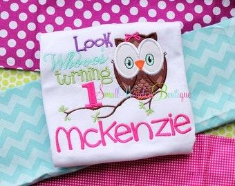 Look Whoo's 1 Embroidered Shirt  - Birthday Shirt - Owl Birthday Shirt - 1st Birthday - First Birthday - Girls Birthday Shirt - Girl Owl