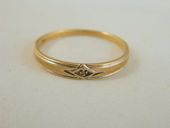 Vintage Mens 10k Gold Wedding Ring Yellow Gold And Diamond