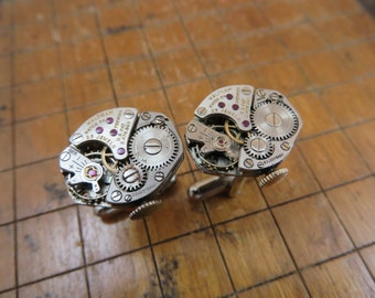 Waltham Watch Movement Cufflinks. Great for Fathers Day, Anniversary, Groomsmen or Just Because.  #201