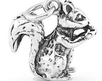 Sterling Silver Squirrel Eating a Nut Charm