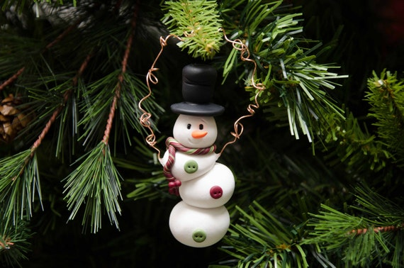 Topsy-Turvy Clay Snowman Ornament by Creative Contours