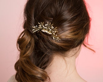 Bridal Hair Accessory, Hair Comb, Pearl Gold Hair Comb