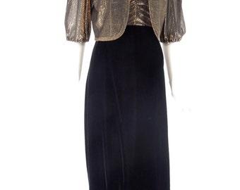 70s Black Velvet Gown & Gold Metallic Jacket Set - sm
