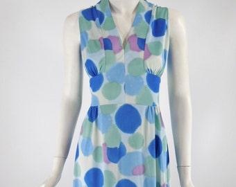 70s Watercolor Dots Maxi Dress - med, lg