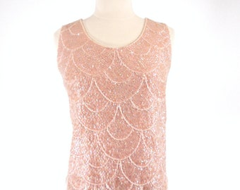 60s Beaded Pink Wool Shell Sweater With Scalloped Hem - med