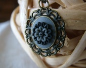 HANDMADE Polymer clay grey cameo with Matchbox