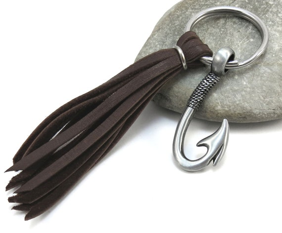 Fish hook keychain men 39 s keychain with leather tassel for Fish hook keychain