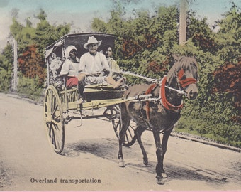 "Ca 1907-09 ""Overland Transportation"" Colorized Real Photo Post Card  - 1807"