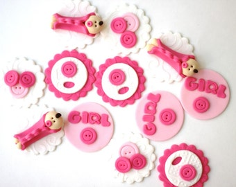 Girl baby shower fondant cupcake toppers. It's a girl baby shower toppers