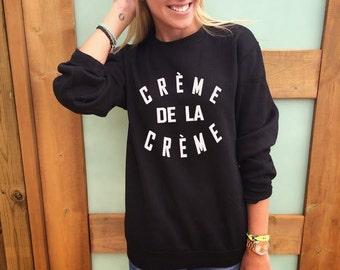 Creme De La Creme baggy sweatshirt  jumper in gray white and black celebrity Tumblr cute girls Sweater pullover XXS-3XL