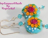 Peace, Love, Garden II - Artisan Lampwork Earrings - Whimsical Beaded Earrings