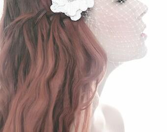 My Sweet Filippa hair flower - beautiful hair flower with birdcage veil