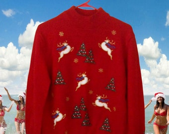 Ugly Christmas Sweater Tacky Christmas Sweater Holiday Sweater Red Sweater Hipster Sweater Hipster Clothing Hipster Clothes Winter Clothing