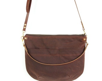 Canvas Cross Body Bag - NEVIS -  Rich Brown - Zip Top  Waxed Canvas  Adjustable Leather Shoulder Bag by Holm