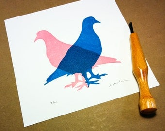 "Block print: Pigeon Experiment #2 - limited edition hand pulled fine art block print (7 x 7"")"