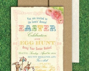 Digital or Printed Vintage Easter Bunny Egg Hunt Invitation