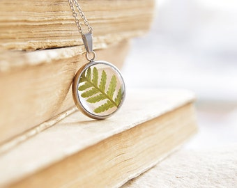 Real fern necklace - Botanical Pressed Flower Jewelry - Herbarium pendant with Fern