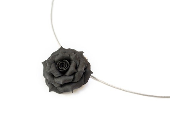 Black Rose Necklace. Polymer Clay Flower Pendant. Black Choker Necklace. Flower Jewelry. Bridesmaid Gifts. Flowergirl Gift.