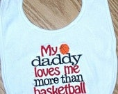 Basketball Baby Boy Bib - My daddy loves me more than basketball Red and Black Embroidered Saying