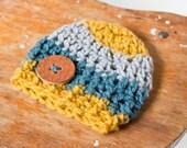 baby boy beanie, handmade leather button, blue lt gray mustard beanie, newborn boy beanie, crochet beanie, teal beanie, newborn baby hat