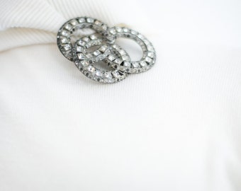 EXTRA Large Antique Rhinestone Brooch // 1920's Art Deco Jewelry. Statement Brooch.