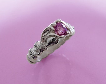 Natural pink spinel on leaf and spiral silver ring