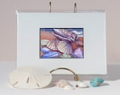 Sea Shell Art Original Watercolor Painting Sea Glass Beach Decor Matted to 5x7 by Janet Zeh