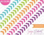 80% OFF SALE Clipart Chevron Borders 45 Colors Vector EPS Included Commercial Use