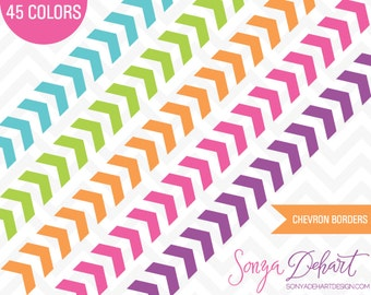 60% OFF SALE Clipart Chevron Borders 45 Colors Vector EPS Included Commercial Use