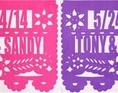 Papel Picado Banner - Wedding Date & Names