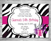 Custom Printed Nails, Makeup and Spa Day Birthday Girl Invite. Great for Any Age.