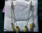 "Dangle Earrings "" Shooting Stars "" Ethiopian Welo Opal Beads,  Sterling Head Pins, Sterling Ear Wires,"