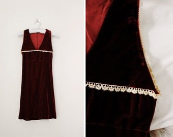 Vintage Red Maroon Velvet Holiday Party Dress - Oxblood Merlot Burgundy Red A Line Dress - Size Small