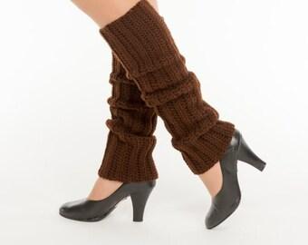 SALE--Chocolate Knit Leg Warmers, Crocheted Leggings, Handmade Women's Warm, Soft Winter Accessory, Exercise, Ballet, Jazz, 80's Style