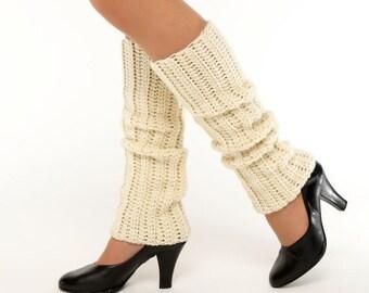 SALE--Ivory Knit Leg Warmers, Crocheted Leggings, Handmade Women's Warm, Soft, Winter Accessory, Dance Wear, Exercise, Ballet, 80's Style