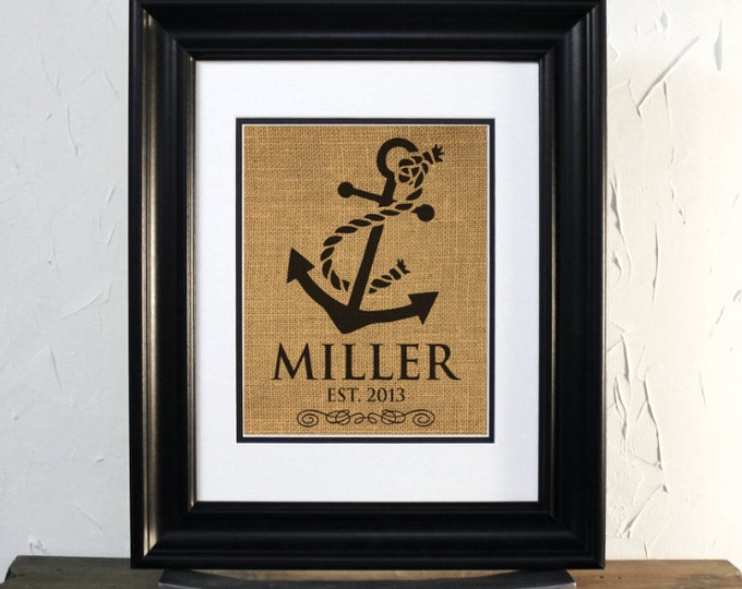 Nautical Anchor Burlap art, Custom Last name and date. Lovely Gift for Wedding or Anniversary. Sailor Theme Decor. Unframed.
