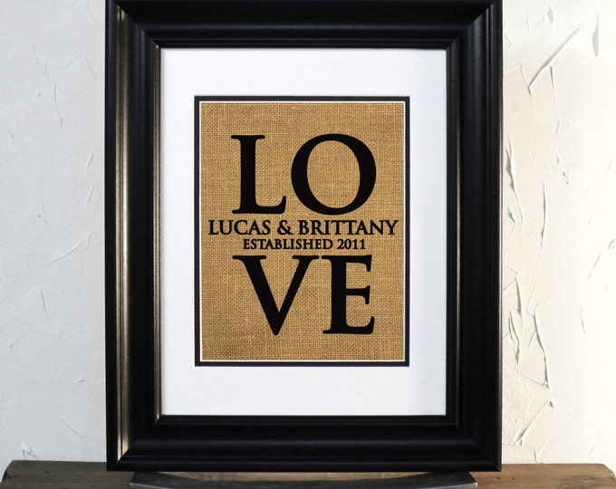 LOVE Custom name and date. Valentines day. Love word. Burlap sign arte. Unframed