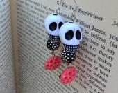 CLEARANCE! Black White & Coral Sugar Skulls and Roses Dangle Earrings