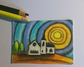 Original art Mini art card ACEO 'Norwegian Church Cardiff Bay ' by Gayle Rogers