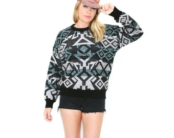 Vintage Abstract Symbol Sweater Tribal Jumper Cosby Geometric Graphic Pattern Triangle Diamond Print