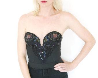 Vintage 90s Bustier Beads and Sequins Black Corset Victoria's Secret Large