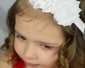 White Shabby & Satin Flower and Rhinestone Hair Bow - Little Girl's Christening Headband - Newborn Baby Baptism Hairbow - Rosette Trio