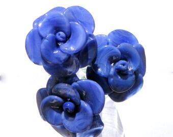 Purple Glass Rose Long Stemmed, Blown Flower Forever Untamed Rose Hand blown, Lavender Extra Large Rose
