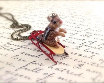 Miniature Vintage Sleigh Necklace. Christmas. Santa's Sled. Sledding. Winter Sports. Activities. Cute Miniatures. Stocking Stuffer. Brass.