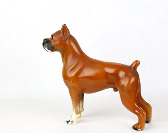 Vtg Boxer Celluloid Toy Dog Animal Statue